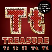 picture of letter t  - Vector luxury chic alphabet of gold and ruby letters - JPG