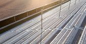stock photo of bleachers  - Empty stadium bleachers - JPG