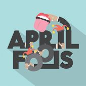 picture of fool  - April Fools Typography Design Vector Illustration - JPG