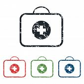 stock photo of first aid  - Colored grunge icon set with image of first aid kit - JPG