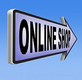 stock photo of internet shop  - online shop internet shopping web shop road sign icon - JPG