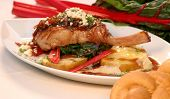 picture of pork chop  - pork chop with fall vegetables including rhubarb - JPG