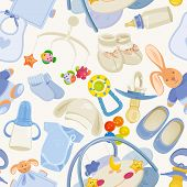 foto of baby bear  - Illustration with cute pattern for baby shower party - JPG