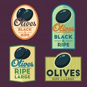 image of olive shaped  - Ripe Black Olives vintage labels - JPG