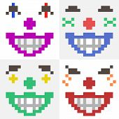 image of clown face  - illustration vector isolate icon pixel art clown face - JPG
