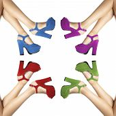 stock photo of shoes colorful  - legs and feet of a woman with colored shoes in circle on white background - JPG