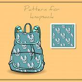 image of knapsack  - Pattern made from blue rabbits for knapsack - JPG