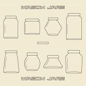 stock photo of mason  - Mason jars linear icon set - JPG