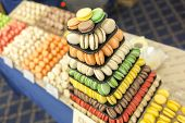 stock photo of food pyramid  - Handmade different colorful macarons pastries arranged in a pyramid. ** Note: Shallow depth of field - JPG