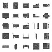 image of peripherals  - Computer components and peripherals silhouettes icons set graphic illustration design - JPG