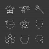 stock photo of honey bee hive  - Flat design vector concept illustration with icons of  products bee - JPG