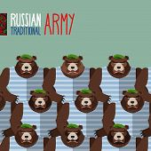 ������, ������: Russian national army of bears in Green Berets Military seamless pattern of animals