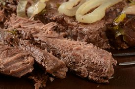 picture of pot roast  - Close up of slice pot roast with onions - JPG