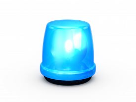 stock photo of emergency light  - Blue flashing and glowing emergency police light signal for attention isolated on white background - JPG
