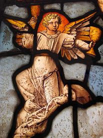 pic of crucifixion  - An Angel holding the Holy Grail at the Crucifixion of Christ shown in an image on a medieval 16th century stained glass window panel - JPG