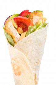 stock photo of sandwich wrap  - Tortilla chicken wrap sandwich isolated on white background - JPG