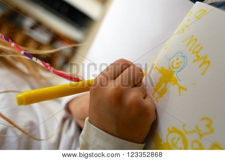 Child/girl Drawing Picture For Mothers Day