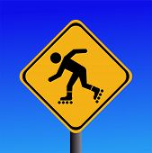 foto of roller-skating  - Warning rollerbladers ahead sign on blue illustration JPG - JPG