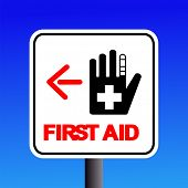 first aid station sign with arrow illustration JPG
