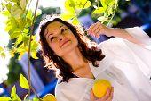 Woman picking lemon