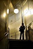 Woman tourist at Paris subway