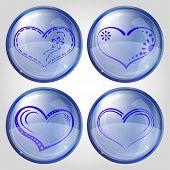 Conjunto de botones, corazón de San Valentín,