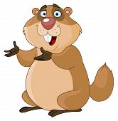 pic of groundhog  - Illustration of a groundhog presenting with his hands - JPG