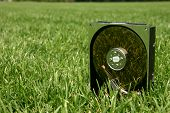 image of open-source  - hard disk drive outside in green grass - JPG