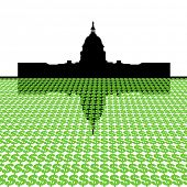 Capitol Building with dollar symbol foreground illustration