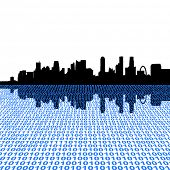 Singapore skyline with binary code foreground illustration