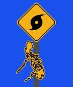 Philippines warning sign with typhoon symbol on blue illustration