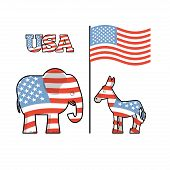 Постер, плакат: Elephant And Donkey Symbols Of Democrats And Republicans Political Parties In United States Illus