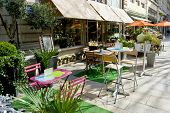 Empty street cafe at the city of Lyon,  France