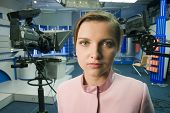 woman portrait in tv  studio