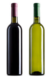 stock photo of red wine  - Red and white wine bottles on white background - JPG