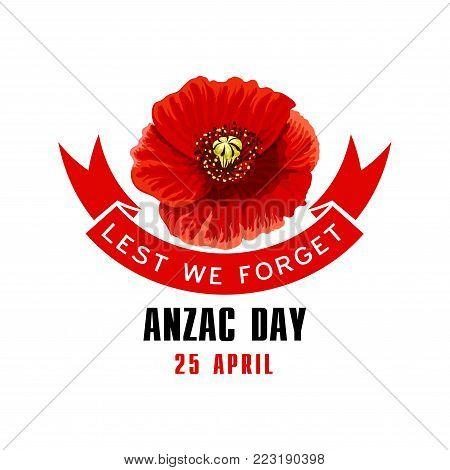 Anzac day lest we forget red poppy flower memorial card blooming anzac day lest we forget red poppy flower memorial card blooming poppy flower with ribbon mightylinksfo