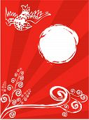 Oriental Bird, Moon, Spiral Plant On Red (Vector)