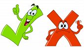 picture of check mark  - Vector cartoon of green tick and red cross - JPG