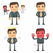 stock photo of angel devil  - set of funny cartoon businessman in various poses for use in presentations - JPG