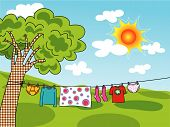 Summer Clothes Hanging On A Line (Vector)