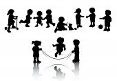 stock photo of jump rope  - Silhouettes of Kids Playing with Clipping Path - JPG