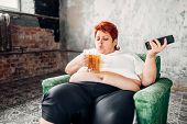 Overweight woman drinks beer, high calorie food poster