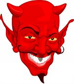 pic of lucifer  - A red cartoon style devil face illustration - JPG