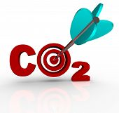 The letters CO2 representing Carbon Dioxide with a target bulls-eye in place of the O and an arrow h
