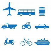 picture of transportation icons  - Vector illustration of icons of transport on a white background - JPG