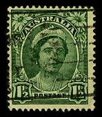AUSTRALIA-CIRCA 1942:A stamp printed in AUSTRALIA shows image of Elizabeth Bowes-Lyon  was the Queen