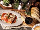 Manicotti Dinner With Wine