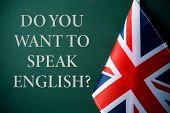a flag of the United Kingdom and the question do you want to speak English? against a dark green bac poster