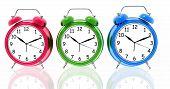 Alarm clocks in different colors