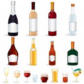 Bottles with Alcoholic Drinks, vector clip art